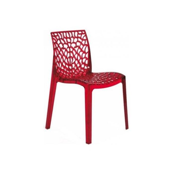 Chaise fum e rouge transparente gruyer transparent couleur unique declikdeco la redoute - Chaise transparente couleur ...