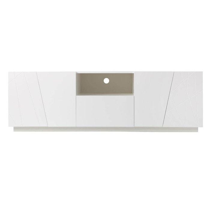 Meuble tv design mat alessia blanc miliboo la redoute for Meuble tv grande taille