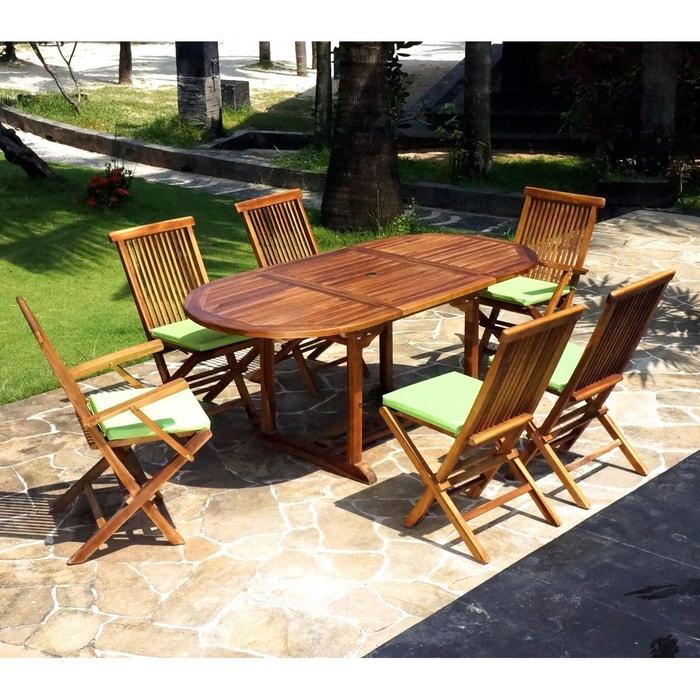 Salon en teck pour jardin 6 chaises et fauteuils marron - Salon jardin la redoute ...