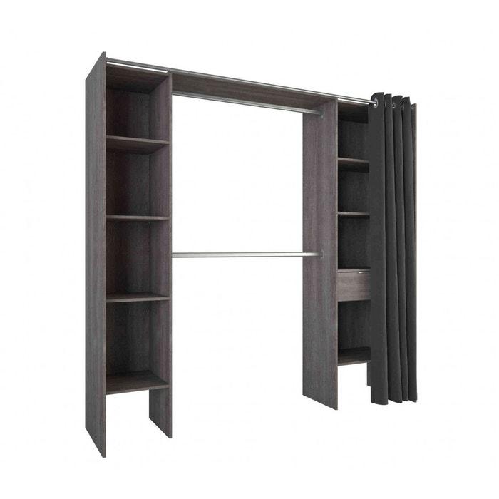 dressing ch ne prata extensible 2 penderies rideau anti feu anthracite terre de nuit la redoute. Black Bedroom Furniture Sets. Home Design Ideas