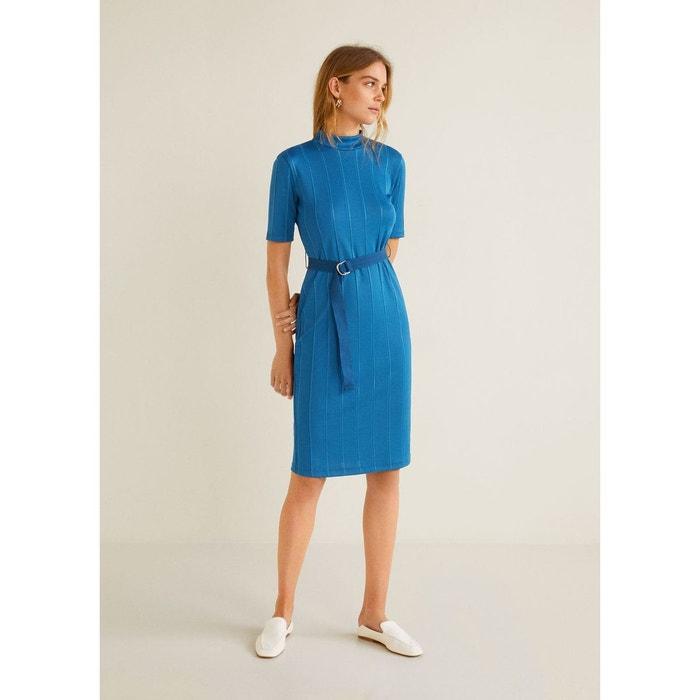 Robe côtelée ceinture bleu pétrole Mango   La Redoute 61b10a4c94b