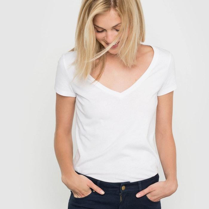 Image T-shirt scollo a V, maniche corte cotone biologico La Redoute Collections
