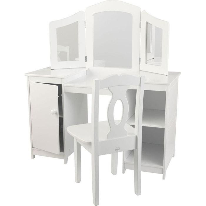 Coiffeuse et chaise de luxe kid13018 blanc kidkraft la for Chaise pour coiffeuse