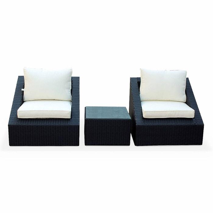 Salon de jardin 3 éléments en résine tressée noire 2 fauteuils 1 ...