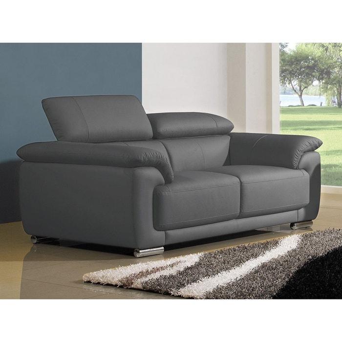 canap cuir 2 places marjorie gris souris la maison du canape la redoute. Black Bedroom Furniture Sets. Home Design Ideas