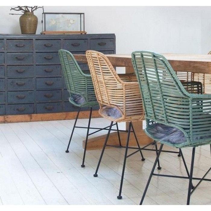 chaise fauteuil avec accoudoir en rotin naturel hk living ... - Chaise Fauteuil Avec Accoudoir