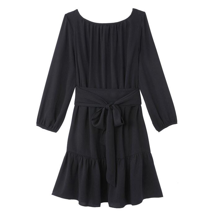 Langärmeliges kleid mit u-boot-ausschnitt schwarz Vanessa ...