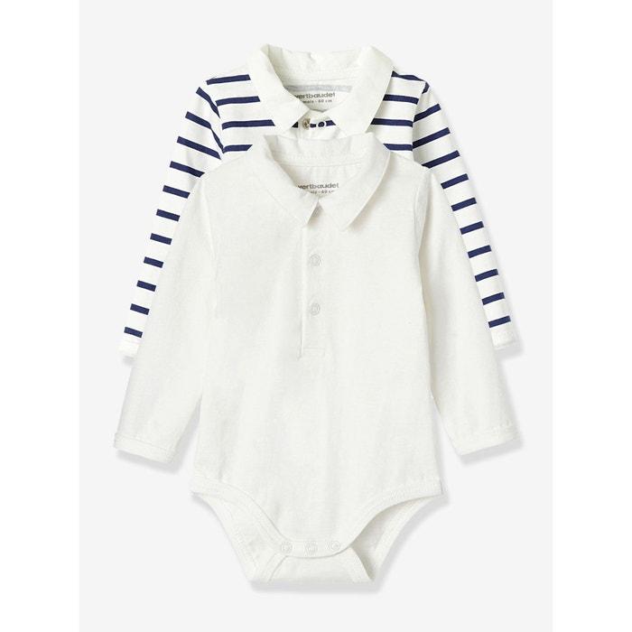 Lot de 2 bodies bébé col polo en jersey pur coton