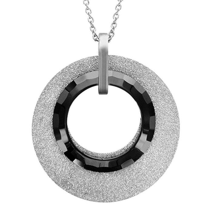 Collier femme longueur réglable: 45,5 cm à 51 cm disque aspect granit céramique noire acier inoxydable couleur unique So Chic Bijoux | La Redoute