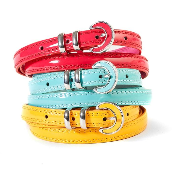 Confezione da 3 cinture sottili, colorate, in vernice  La Redoute Collections image 0