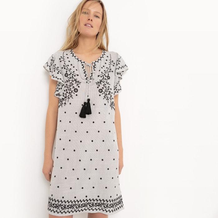 afbeelding Folk jurk met korte mouwen en pompons R studio