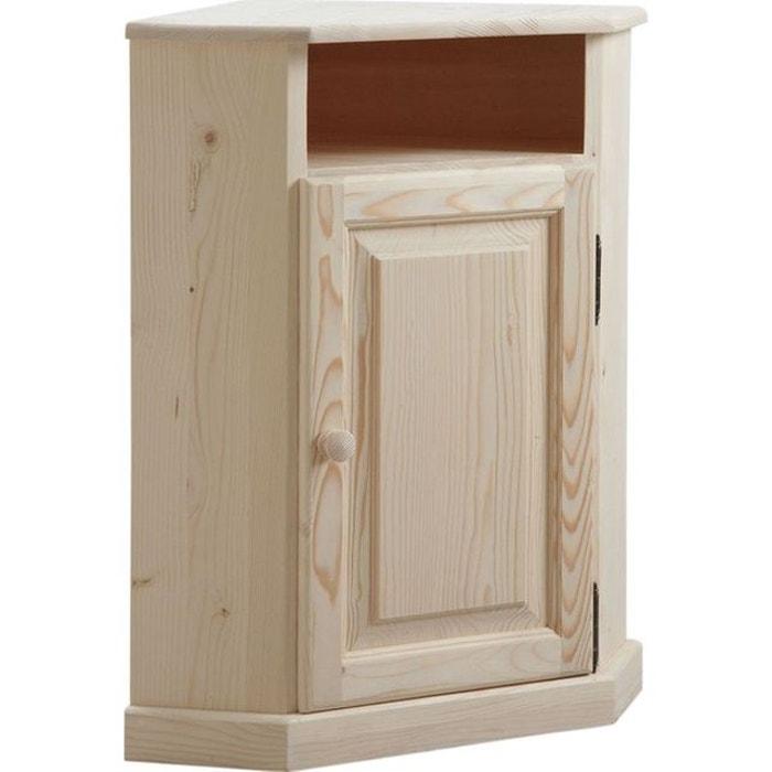 petit meuble d 39 angle en bois brut naturel aubry gaspard la redoute. Black Bedroom Furniture Sets. Home Design Ideas