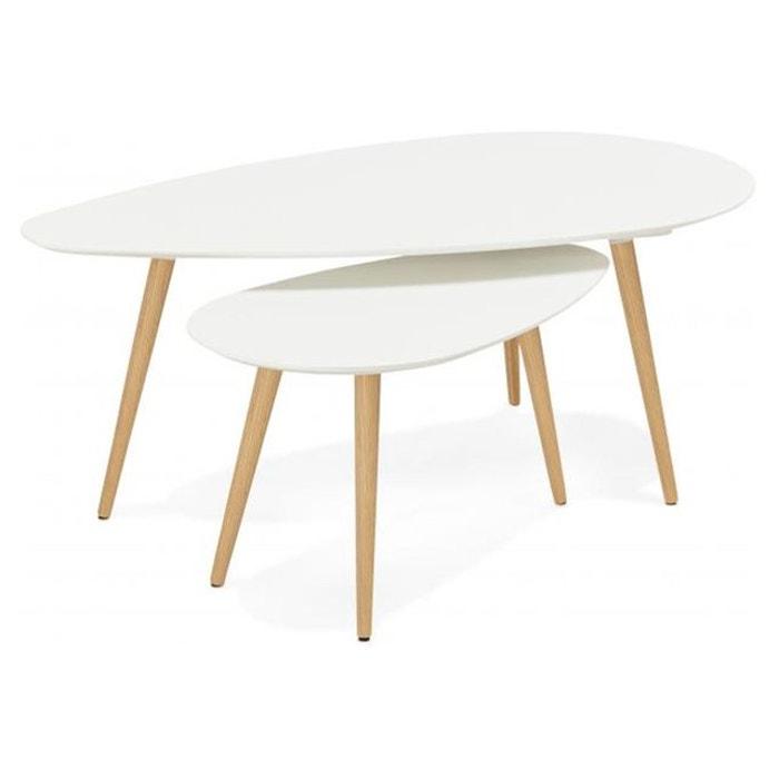 ensemble de deux tables gigognes scandinaves blanches stacy blanc declikdeco la redoute. Black Bedroom Furniture Sets. Home Design Ideas
