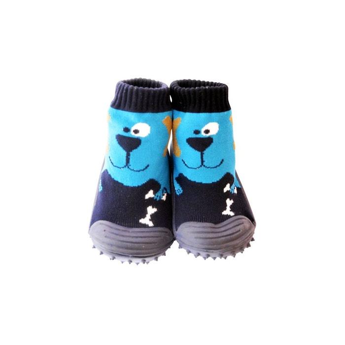 f90462ad7cbb8 Chaussons-chaussettes antidérapants chien bleu C2bb