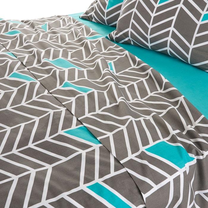 drap plat imprim pur coton tobison gris vert blanc la redoute interieurs la redoute. Black Bedroom Furniture Sets. Home Design Ideas
