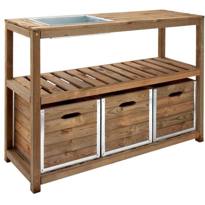 Table de jardinage 3 tiroirs, 1 bac à rempoter 129x45x90cm JARDIPOLYS