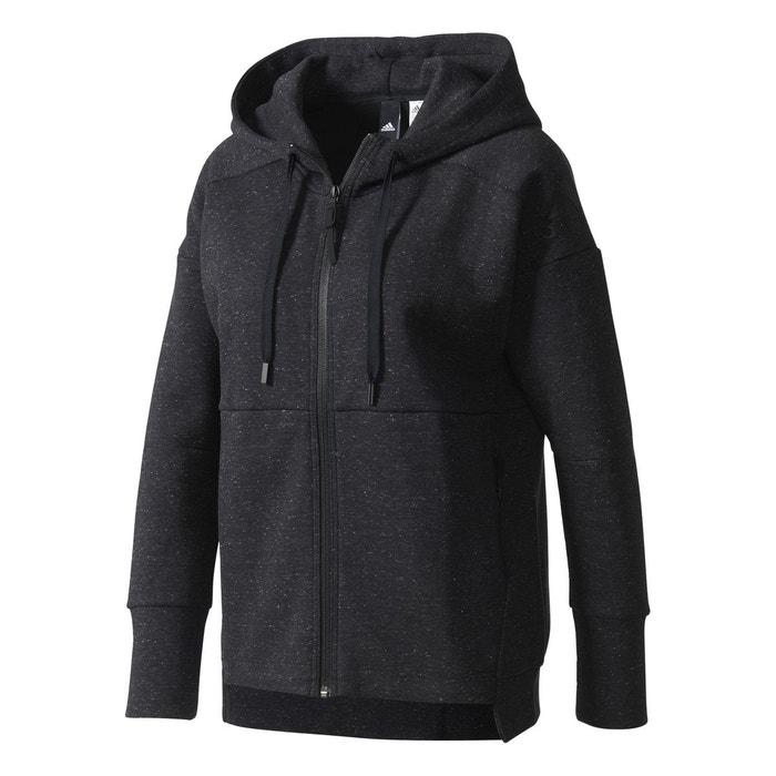 Veste stadium hoodie noir Adidas   La Redoute 53dcd802256