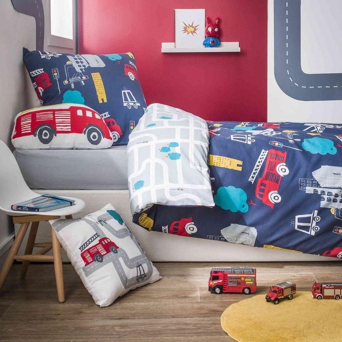 parure de lit enfant camion de pompier bleu marine future home la redoute. Black Bedroom Furniture Sets. Home Design Ideas