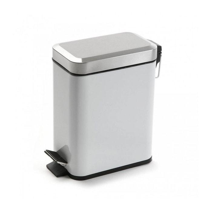 Poubelle de salle de bain troite en m tal blanche et chrome 5l blanc wadiga la redoute - Poubelle cuisine etroite ...