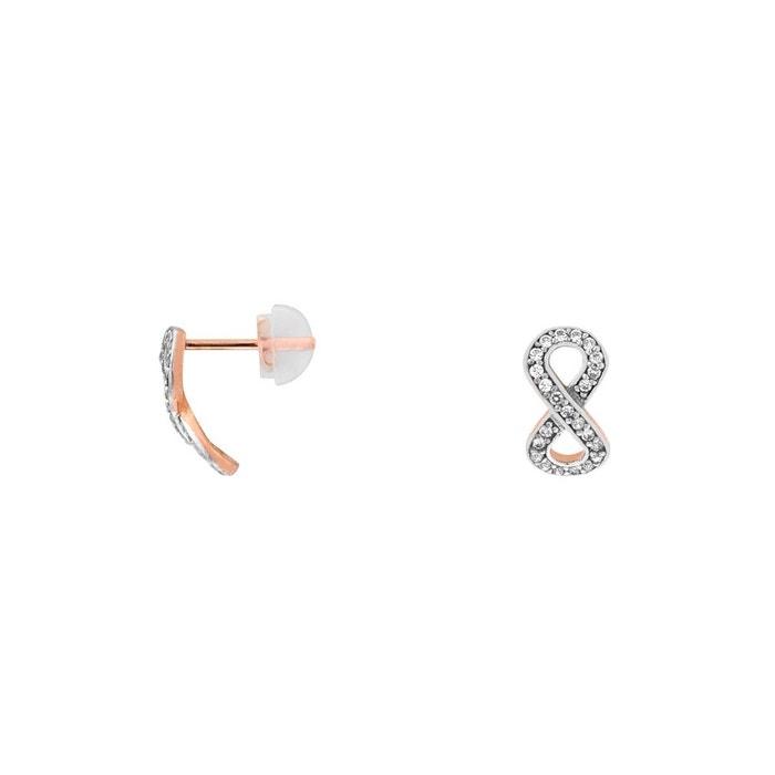 Prix Pas Cher Offre Boucles oreilles or 375/1000 oxyde blanc Cleor | La Redoute En Vente En Ligne Pas Cher À La Mode RgYQT2y