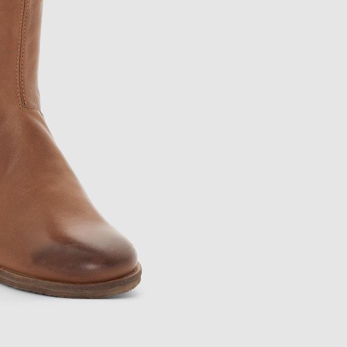 Bottes en cuir longbotte marron or Kickers