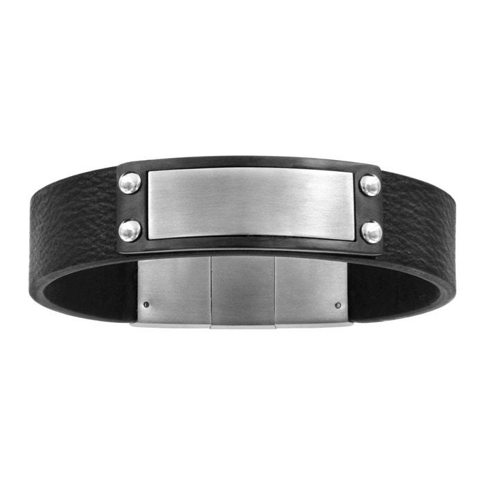 Bracelet longueur réglable: 19,5 à 20,5 cm cuir noir plaque double fermoir acier inoxydable couleur unique So Chic Bijoux | La Redoute