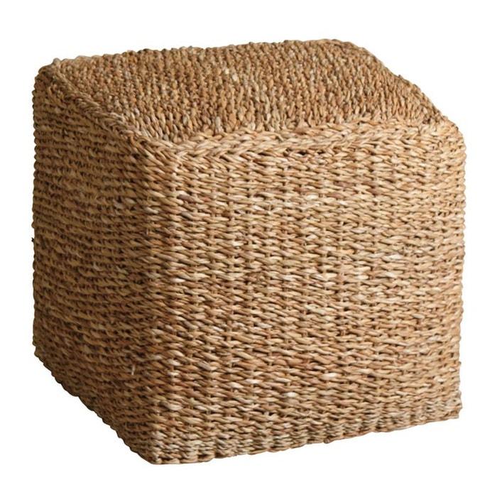 pouf carr en jonc de mer naturel aubry gaspard la redoute. Black Bedroom Furniture Sets. Home Design Ideas