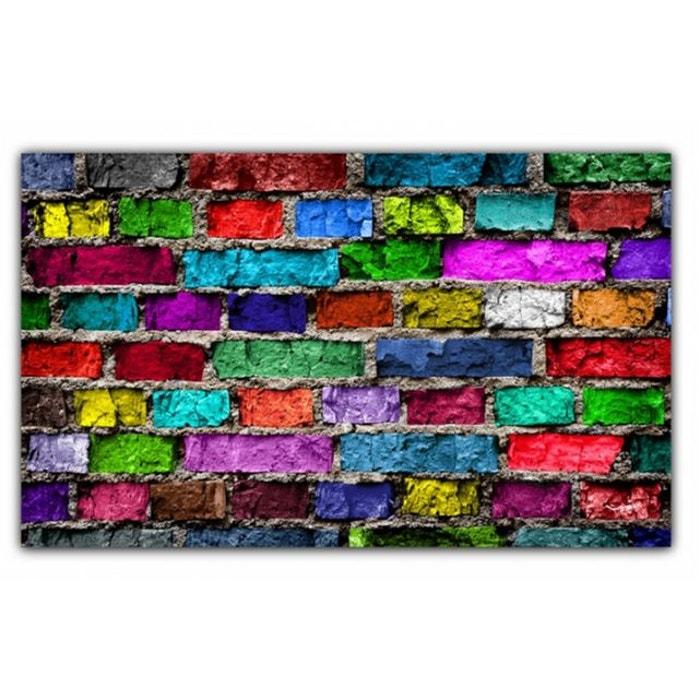 tableau pop art mur de briques multicolore x cm couleur unique declikdeco la redoute. Black Bedroom Furniture Sets. Home Design Ideas