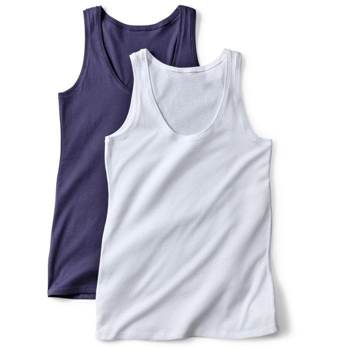 La Collections camisetas Redoute 243;n 2 mangas sin org de de 225;nico algod Lote fqfHr