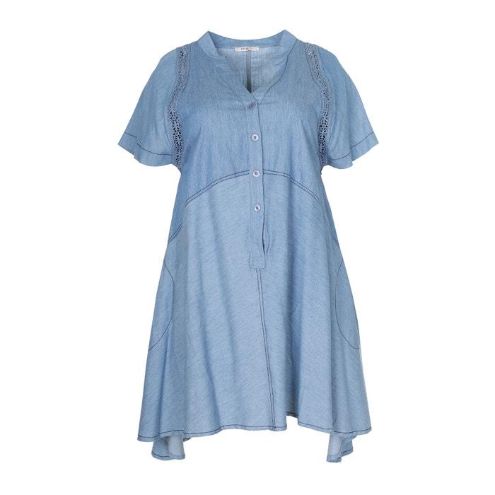Denim Dress with Openwork Detail  MAT FASHION image 0