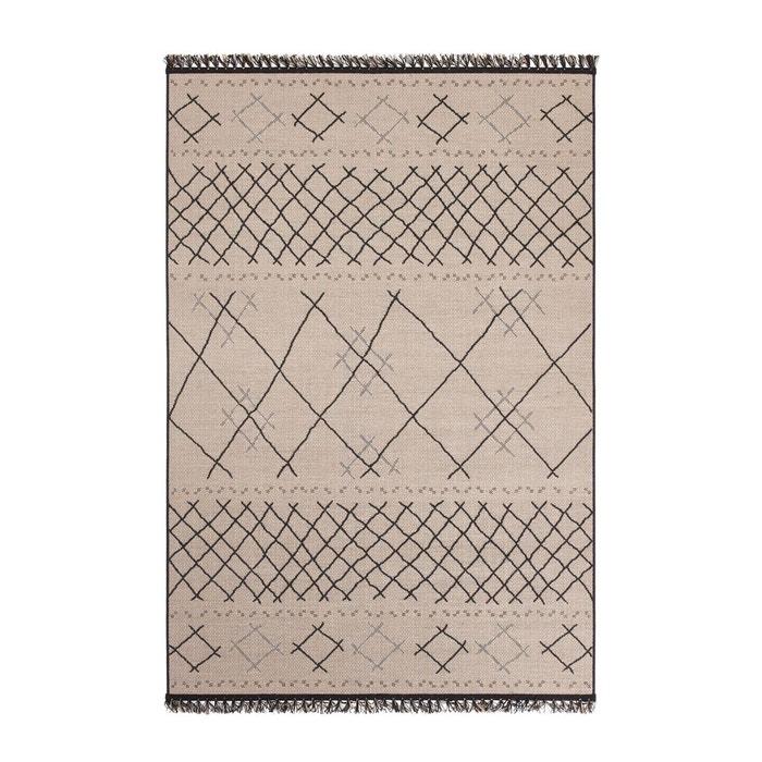 tapis style berb re aspect sisal ouzia beige noir la. Black Bedroom Furniture Sets. Home Design Ideas