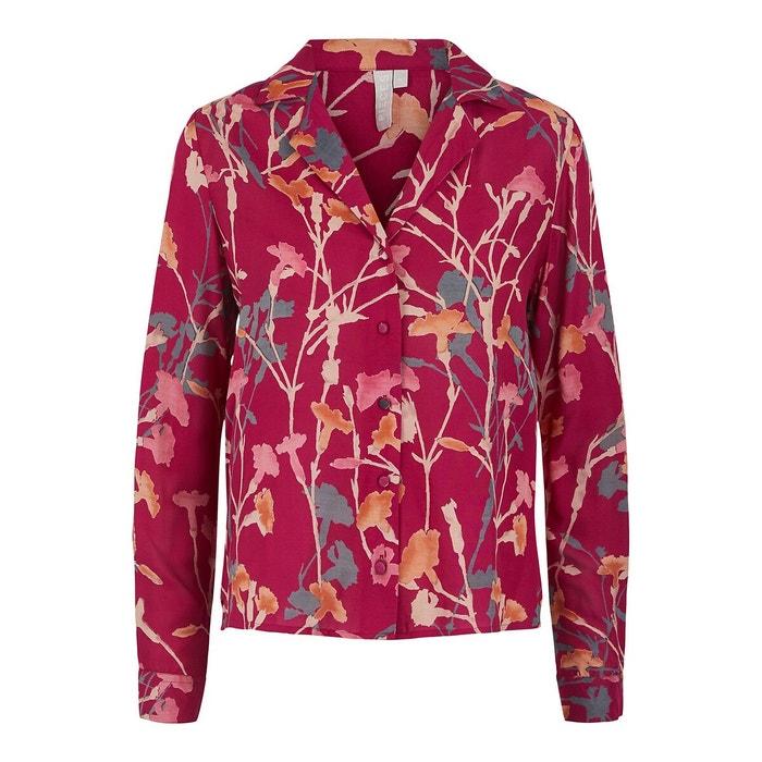 Блуза с цветочным принтом, пиджачный воротник