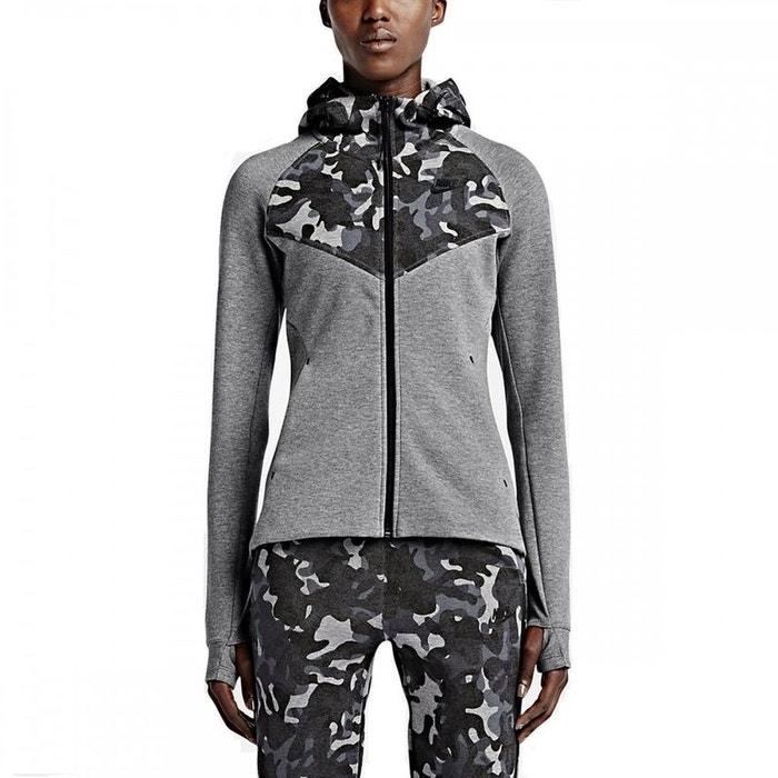 Sweat tech fleece full-zip print gris Nike   La Redoute 4a7c513f77fd