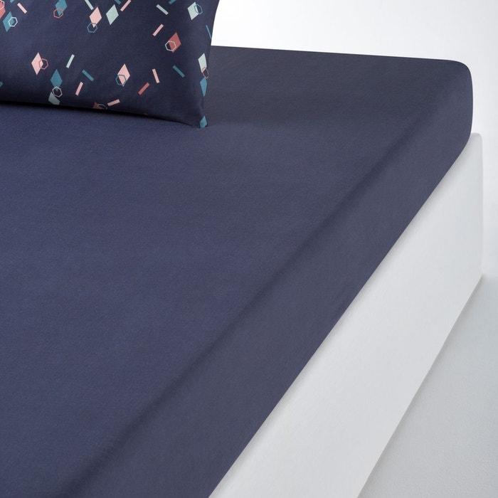 drap housse satin de coton paillettes bleu fonc la redoute interieurs la redoute. Black Bedroom Furniture Sets. Home Design Ideas