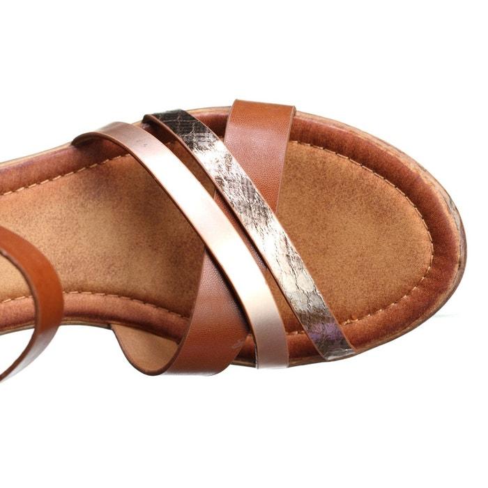 Sandale compensee à lanières marron Leader Mode