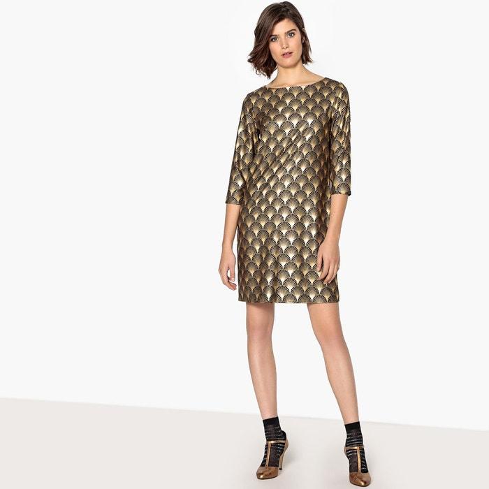 cb772b37459 Robe de soirée imprimée géométrique doré imprimé géométrique fond noir La  Redoute Collections