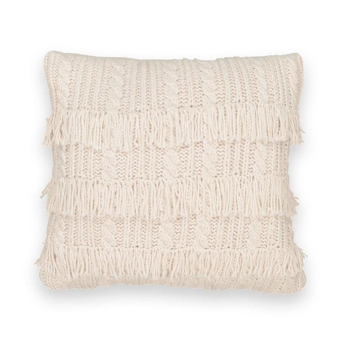 Housse de coussin en tricot franges lopik ecru la for Housse de coussin la redoute