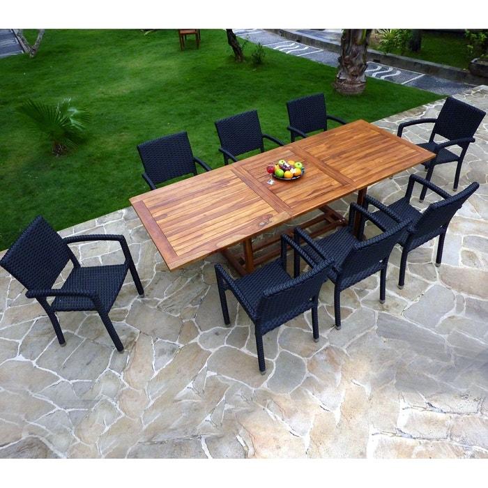 Salon de jardin résine tressée et teck huilé 8 places - table + 8 ...