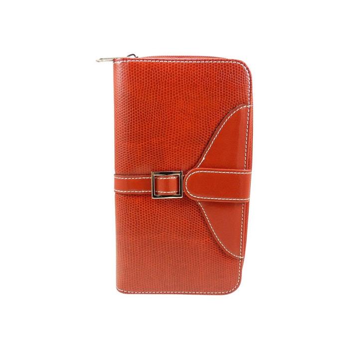 Compagnon femme porte chéquier portefeuille grand porte-monnaie motif croco  synthétique Chaussmaro   La Redoute c5ec24a570e