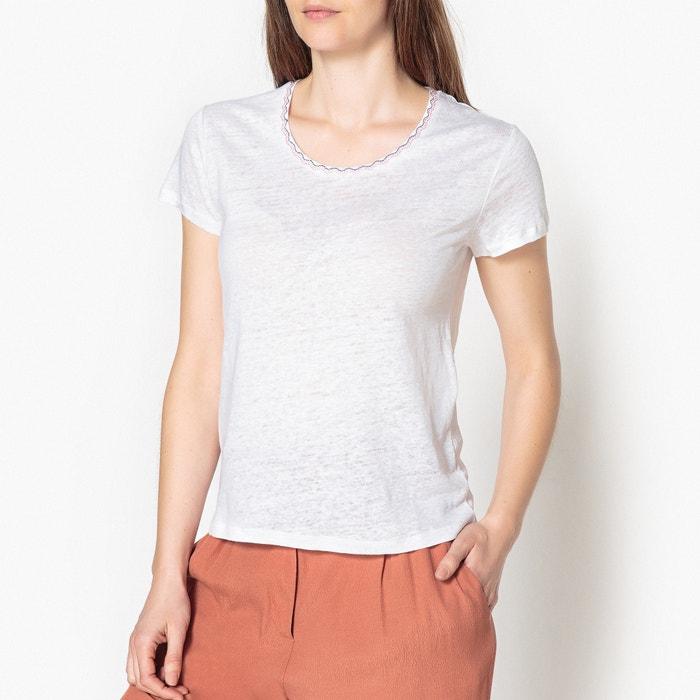 Jessica Linen T-Shirt with Embroidered Neckline  HARRIS WILSON image 0
