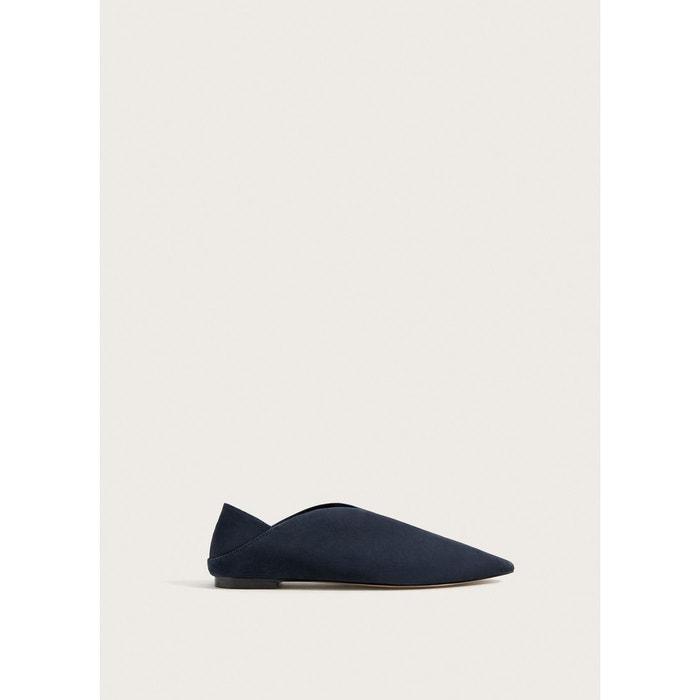 Chaussures plates cuir  bleu marine Violeta By Mango  La Redoute