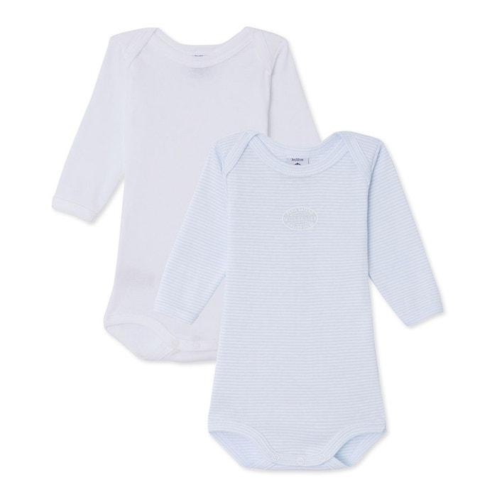 Lot de 2 bodies bébé garçon manches longues bleu Petit Bateau  c5514cf975a