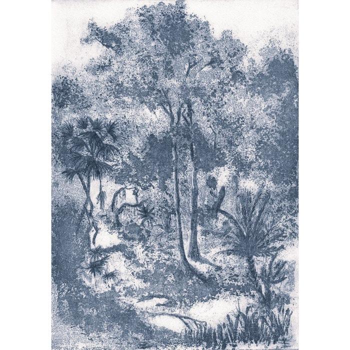 Papier Peint Panoramique Gravure Paysage Foret Exotique Tenue De