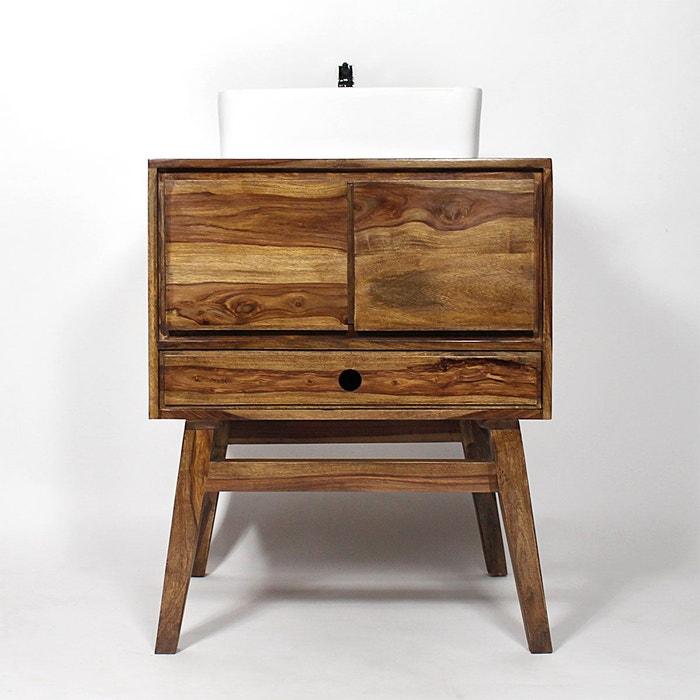 meuble salle de bain bois massif style scandinave 1 vasque pas6 made in meubles image - Meuble Salle De Bain Bois 1 Vasque