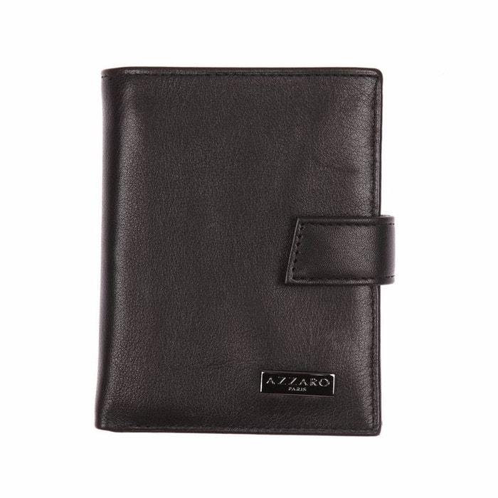 Petit portefeuille européen 3 volets en cuir noir, porte