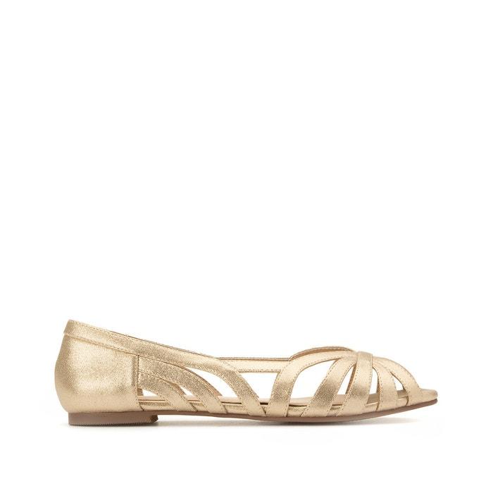 Wide fit open toe ballet flats gold