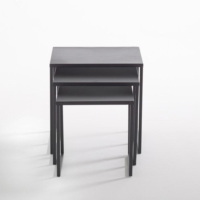 nest of 3 hiba steel tables black la redoute interieurs la redoute. Black Bedroom Furniture Sets. Home Design Ideas