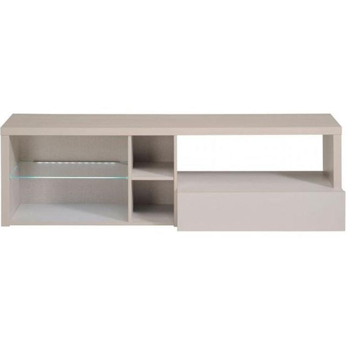 Meuble tv 1 tiroir 5 niches beige werner beige declikdeco for Meuble tv d angle la redoute