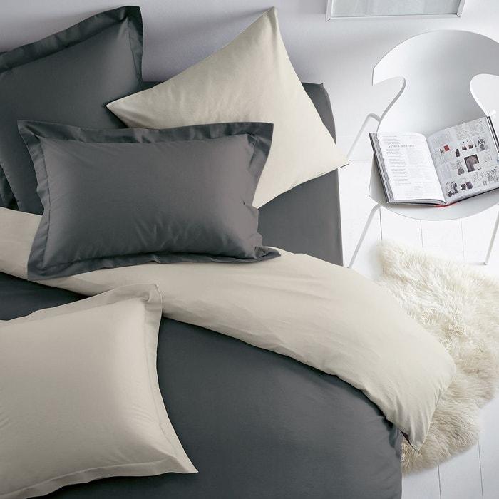taie d 39 oreiller en coton bicolore scenario la redoute interieurs la redoute. Black Bedroom Furniture Sets. Home Design Ideas