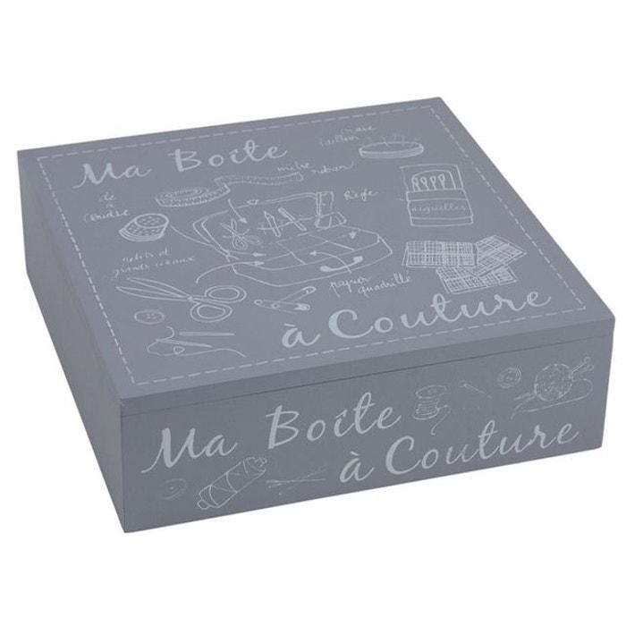 Boite couture en bois laqu gris gris aubry gaspard la for Boite a couture la redoute